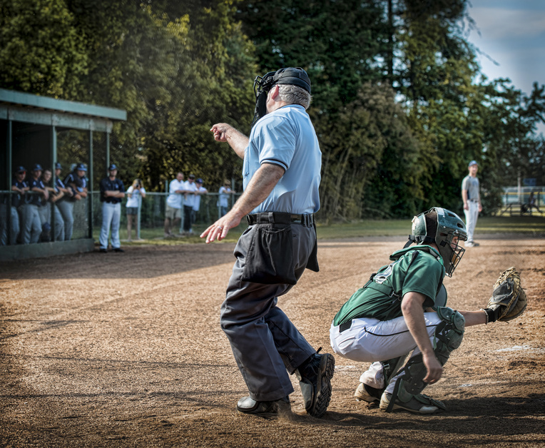 Umpire calling player out